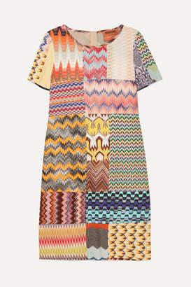 Missoni Patchwork Crochet-knit Mini Dress - Purple
