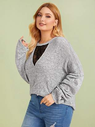 Shein Plus Contrast Mesh Embroidery Drop Shoulder Sweater