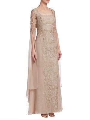Teri Jon by Rickie Freeman Chiffon& Lace Gown