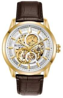 Bulova Sutton Skeleton Dial and Leather Strap Watch