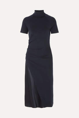 Brunello Cucinelli Gathered Stretch-wool And Satin Turtleneck Midi Dress - Navy