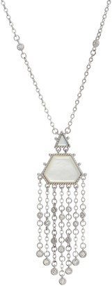 Judith Ripka Sterling Silver Mother of Pearl Drop Necklace
