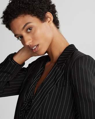 Express Petite Ticking Stripe Boyfriend Jacket