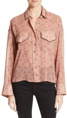 Women's The Kooples Metal Detail Print Mousseline Shirt $245 thestylecure.com