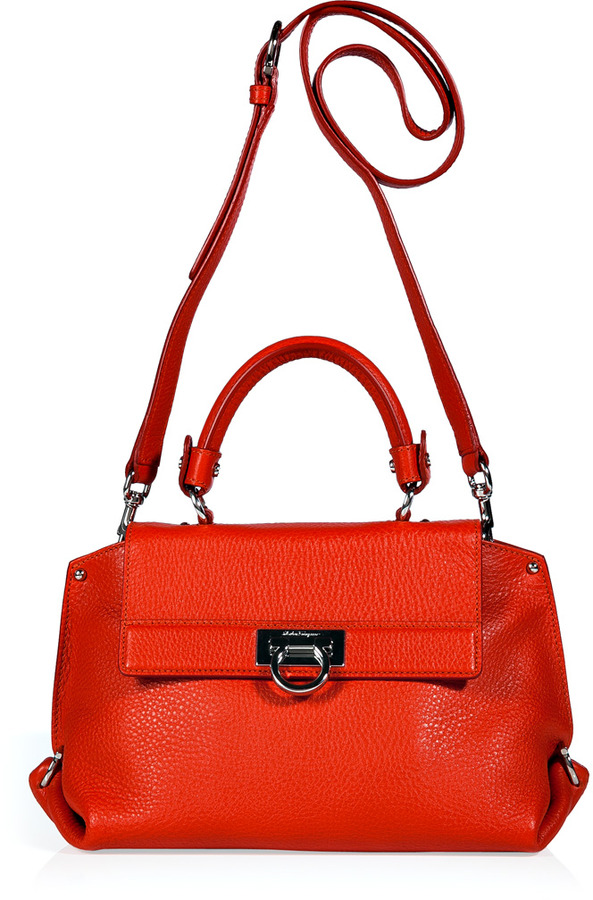 Salvatore Ferragamo Lava Orange Leather Sofia Crossbody Bag