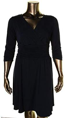 NY Collection Womens Plus Ruched A-Line Cocktail Dress