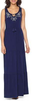 ST. JOHN'S BAY Embriodered Tiered Maxi Dress - Tall 56
