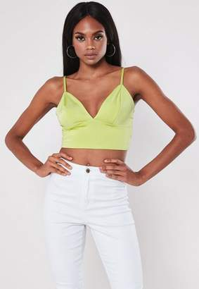 Missguided Lime Slinky Strappy Bralet