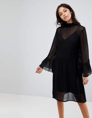 Gestuz Floaty Dress With Fluted Sleeves