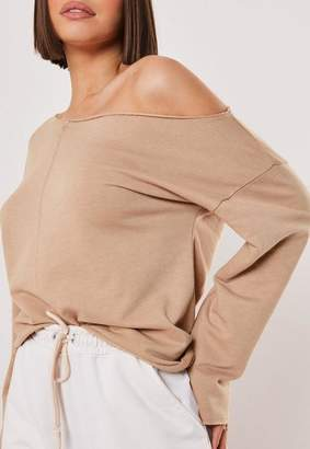 Missguided Sand Off Shoulder Loopback Sweater