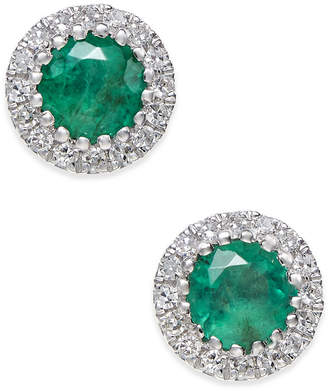 Macy's Emerald (5/8 ct. t.w.) and Diamond (1/10 ct. t.w.) Stud Earrings in 14k White Gold