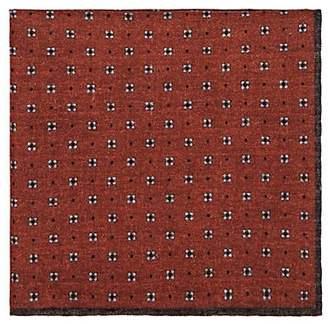 Eleventy Men's Reversible Wool-Cotton Pocket Square - Orange
