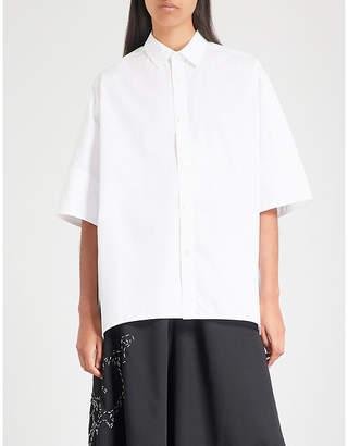 Y's Ys Asymmetric longline cotton-poplin shirt