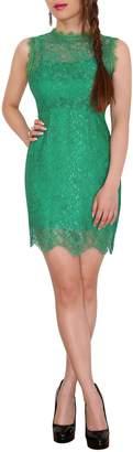SODACODA Women's High Neck Lace dinner summer short dress - L