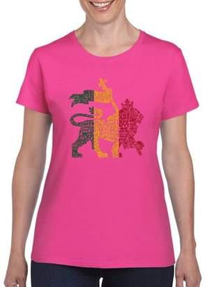 Los Angeles Pop Art Women's Rasta Lion T-Shirt
