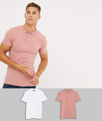 Asos DESIGN muscle fit short sleeve jersey polo 2 pack SAVE