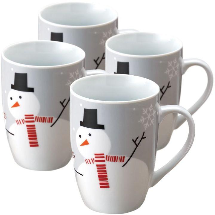 Rachael Ray little hoot & snowman 4-pc. mug set
