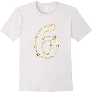 Number 6 T-Shirt for Birthday or Anniversary Gold Stars
