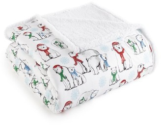 Shavel Home Products Micro Flannel Reversible Sherpa Blanket, Full/Queen, Polar Bears