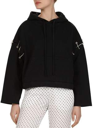 The Kooples Safety Pin-Detail Cotton Hoodie