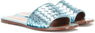 Bottega Veneta Intrecciato metallic leather slides