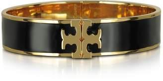 Tory Burch Raised Logo Black Enamel Thin Cuff Bracelet