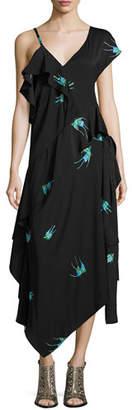 Diane von Furstenberg Bird-Print Asymmetric Silk Jersey Ruffle Dress, Black