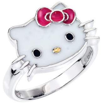 Hello Kitty Enamel Face and Red Enamel Bow Girl's Ring