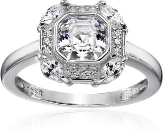 Swarovski Amazon Collection Sterling Silver Zirconia Asscher Cut Center Antique Inspired Ring, Size 6