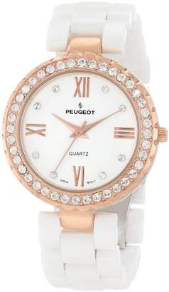 Peugeot Women's Ceramic 14K Rose Gold Plated Roman Numeral Face Crystal Dress Watch 7078WRG