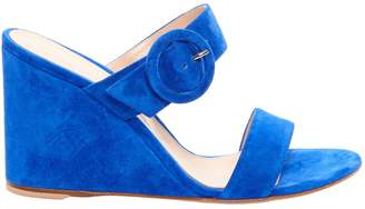 Gianvito Rossi Ming Suede Wedge Mules - Blue