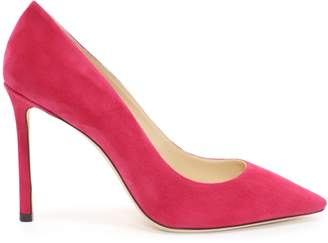 Jimmy Choo ROMY 100 Raspberry Suede Pointy Toe Pumps