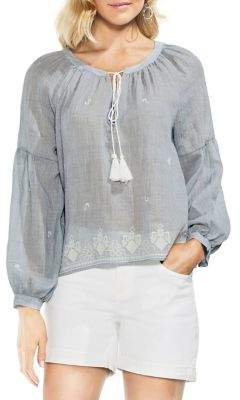 Vince Camuto Zen Bloom Melange Peasant Blouse