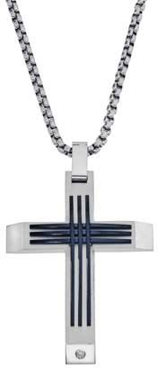 Armani Exchange Jewelry Mens Stainless Steel Diamond Accent Cross Pendant (0.03 carats, H-I I3)