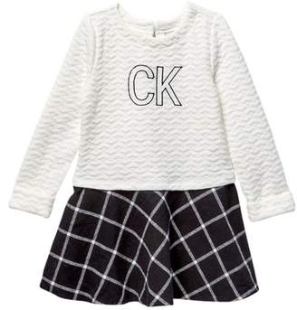 Calvin Klein Heart Quilted Top & Flannel Plaid Bottom Dress (Toddler Girls)