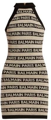 Balmain Logo Intarsia Knitted Mini Dress - Womens - Beige Multi