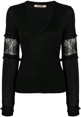 Roberto Cavalli sheer sleeves pullover