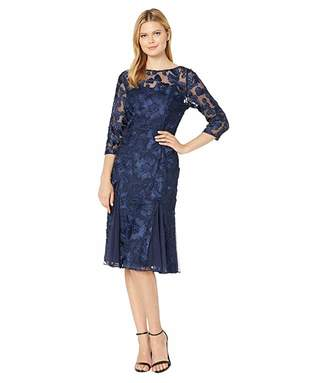 Alex Evenings Midi Length Fit and Flare Embroidered Dress with Illusion Neckline and Sleeves