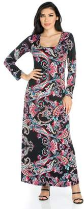 24/7 Comfort Apparel 24seven Comfort Apparel The Paisley Paradise Long Sleeve Maxi Dress