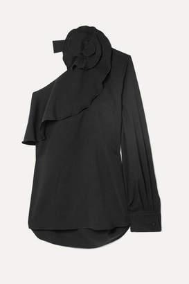 Oscar de la Renta One-shoulder Ruffled Stretch-silk Blouse - Black