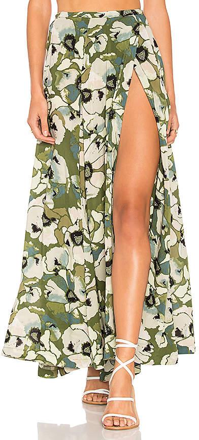 Free People Hot Tropics Maxi Skirt in Green