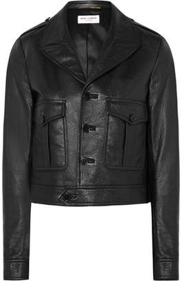 Saint Laurent Cropped Leather Jacket - Black