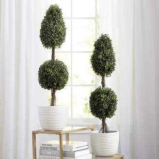 Laurèl Foundry Modern Farmhouse Aritificial Double Ball Shaped Boxwood Round Tapered Topiary in Pot