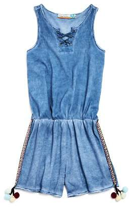 Vintage Havana Girls' Lace-Up Mineral-Wash Romper with Pom-Poms - Big Kid