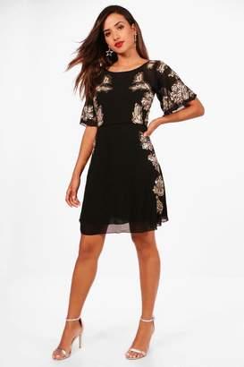boohoo Boutique Cluster Sequin Skater Dress