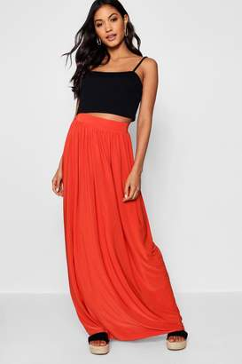 boohoo Slinky Floor Sweeping Maxi Skirt