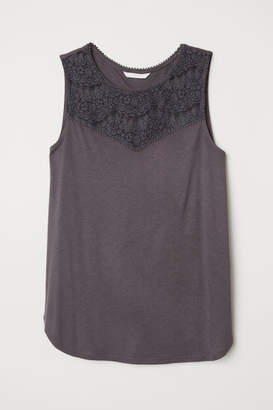 H&M Sleeveless Jersey Top - Gray