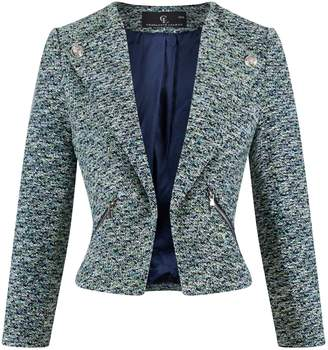 Charlotte London - Button Back Blazer In Emerald and Deep Blue