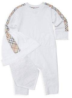 Burberry Baby's 3-Piece Colby Romper, Hat& Bib Set