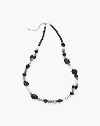 Long Black and White Single-Strand Necklace